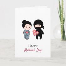 Tiny Ninja Giving Flowers to Japanese Mom Card