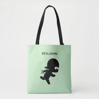 Tiny Ninja Running Custom Name on Green Tote Bag