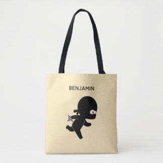 Tiny Ninja Running Custom Name on Yellow Tote Bag