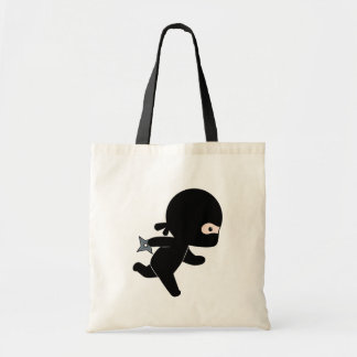 Tiny Ninja Running Holding Throwing Star Tote Bag
