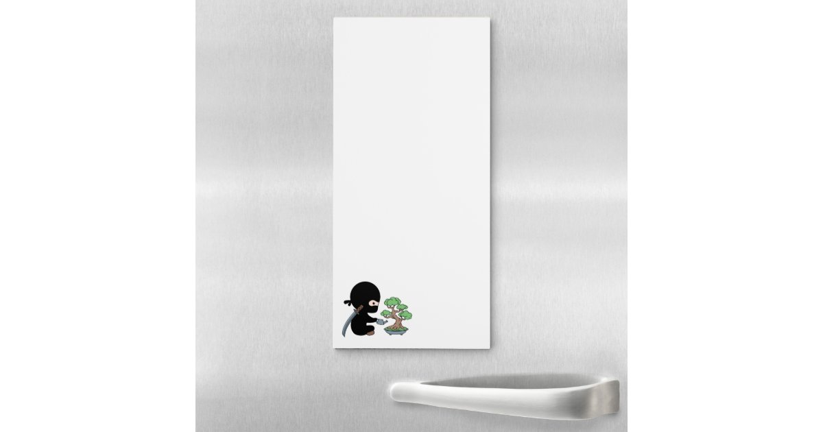 Tiny Ninja Watering Bonsai Tree Magnetic Notepad Zazzle Com
