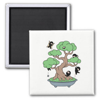 Tiny Ninjas in Bonsai Tree Magnet