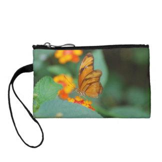 Tiny Orange Butterfly Change Purse