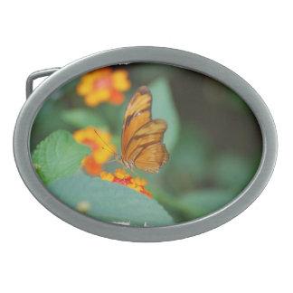 Tiny Orange Butterfly Oval Belt Buckle