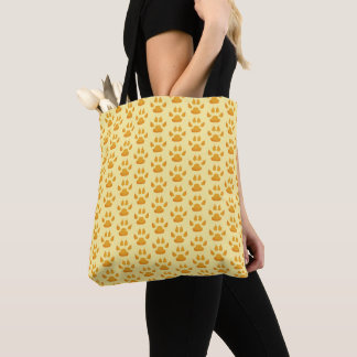 Tiny Orange Paws and Claws Prints Tote Bag