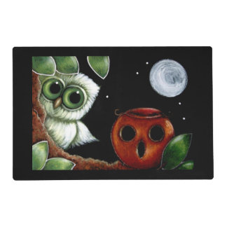 TINY OWL & HALLOWEEN PUMPKIN Laminated Placemat