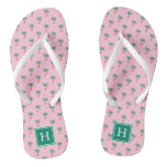 Tiny Palms Pink Monogram Flip Flops