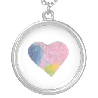 Tiny Pastel Heart #3 Round Pendant Necklace