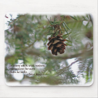 Tiny pine cone: Every walk w/nature... John Muir Mouse Pads