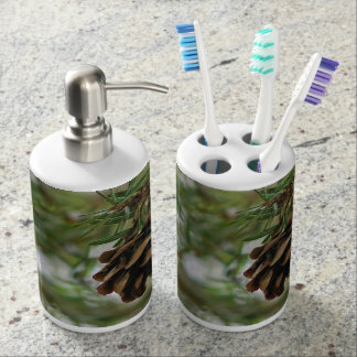 Tiny Pine Cone hanging among pine needles Soap Dispenser And Toothbrush Holder