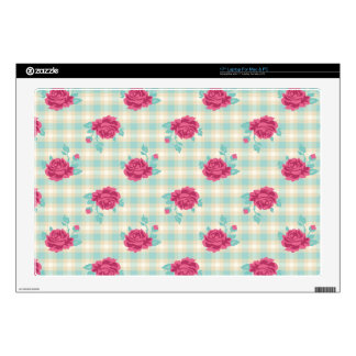 tiny pink roses on aqua cream plaid laptop skin