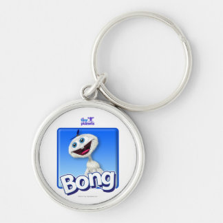 Tiny Planets Bong - Beanie Silver-Colored Round Keychain