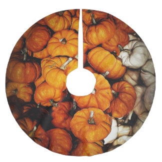 Tiny Pumpkins In Pile Brushed Polyester Tree Skirt