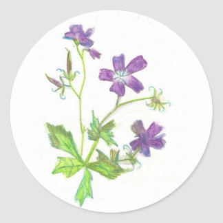 Tiny purple flower classic round sticker