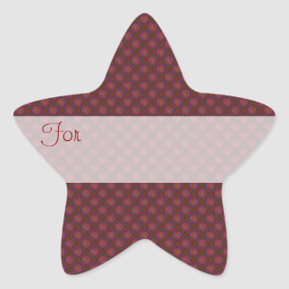Tiny Red Flowers Patterned Gift Tag Star Sticker