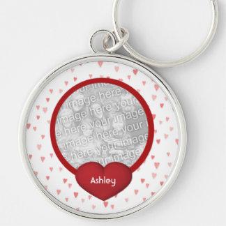 Tiny Red Hearts Design Photo Key Chain