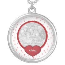 Tiny Red Hearts Design Photo Silver Plated Necklace