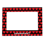 Tiny Red Hearts on Black Magnetic Frame