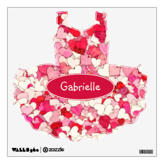 Tiny Red, Pink and Cream Hearts Tutu Wall Sticker