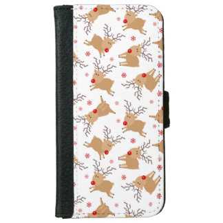 Tiny Reindeer Christmas Holiday Pattern Wallet Phone Case For iPhone 6/6s