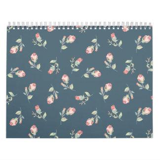 Tiny Rosebuds Navy & Pink Rose Floral Print Calendar