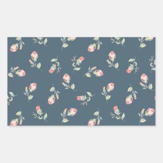 Tiny Rosebuds Navy & Pink Rose Floral Print Rectangular Sticker