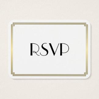 Tiny Round Gatsby Art Deco Gold Wedding RSVP Business Card