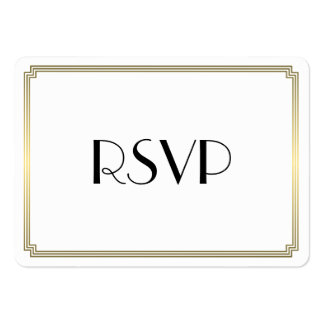 Tiny Round Gatsby Art Deco Gold Wedding RSVP Large Business Card