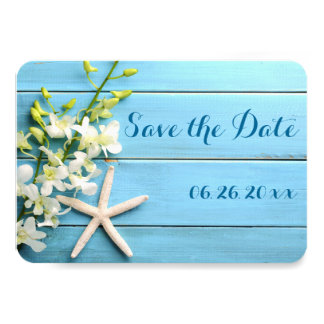 Tiny Round Starfish Save The Date Cards Orchids