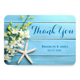 Tiny Round Starfish Wedding Thank You Card Orchids