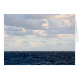 Tiny Sailboat on a Big Ocean Greeting Cards