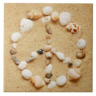 Tiny Seashell Peace Sign Ceramic Tile