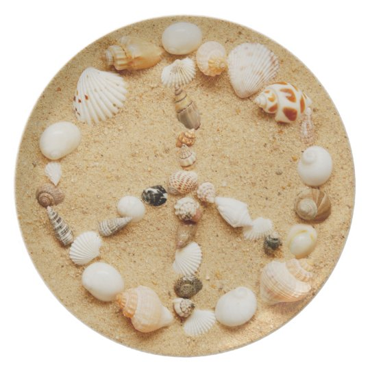 Tiny Seashell Peace Sign Melamine Plate