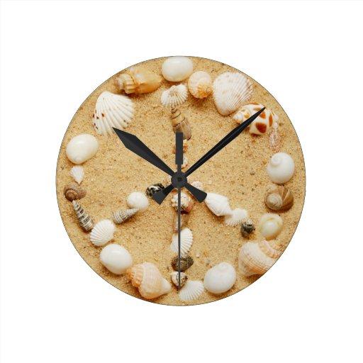 Tiny seashell peace sign wall clock zazzle for Seashell clock