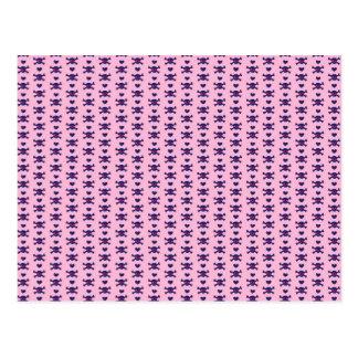 Tiny Skulls Hearts Pink Purple Punk Rock Pattern Postcard