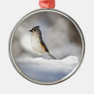 Tiny Snow Bird Metal Ornament