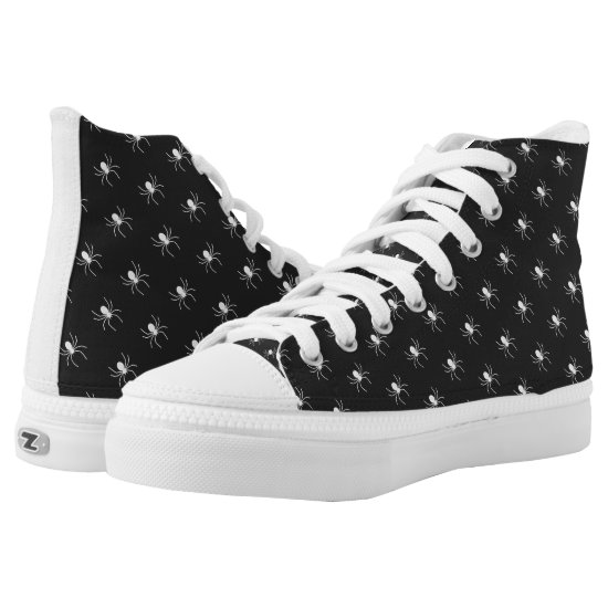 Tiny Spiders Pattern White ID684 High-Top Sneakers