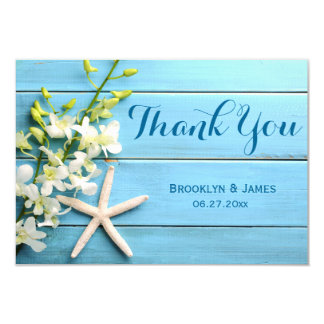 Tiny Starfish Wedding Thank You Card With Orchids