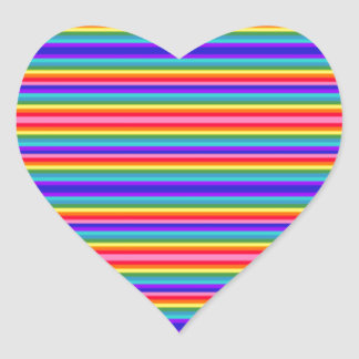 Tiny Stripes of Rainbow Colors Heart Sticker