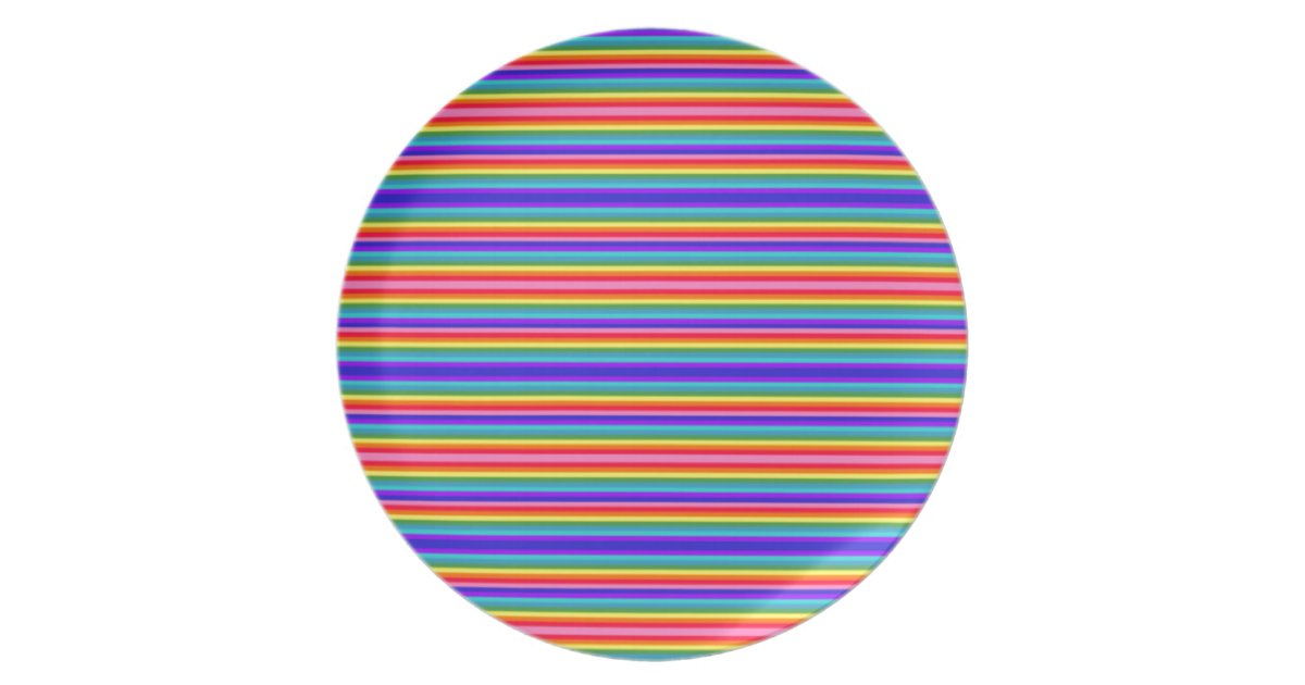 Tiny stripes of rainbow colors party plate zazzle for Rainbow color stripe watch