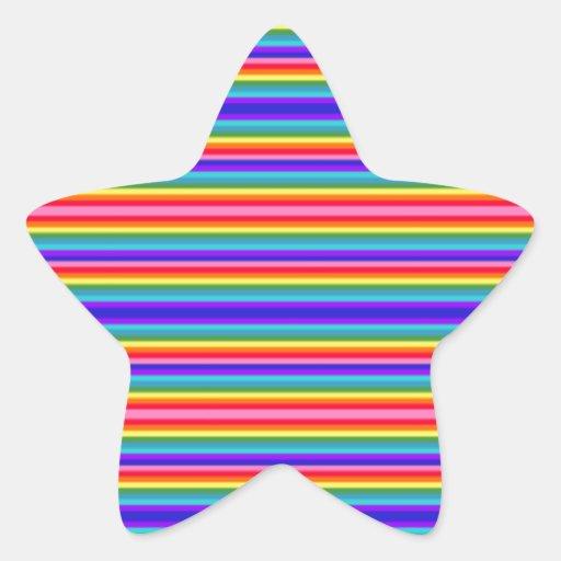 Tiny stripes of rainbow colors star sticker zazzle for Rainbow color stripe watch