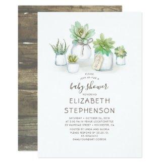 Tiny Succulents Mason Jars Rustic Baby Shower Invitation