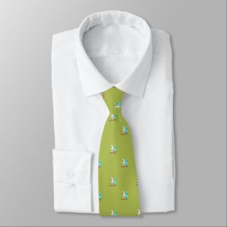 Tiny Surfboards in Sand Pattern Green Tie