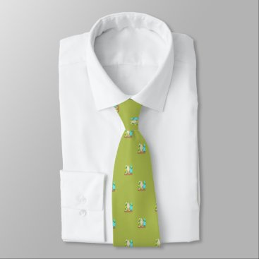 Beach Themed Tiny Surfboards in Sand Pattern Green Tie