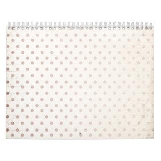 Tiny Taupe Dot Print Classic Simple Golden Beige Calendar