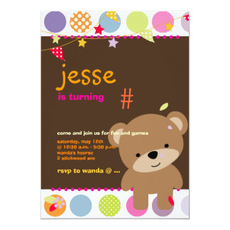 Tiny Teddy Bear Personalized Party 5x7 Paper Invitation Card