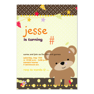 Tiny Teddy Bear Personalized Party Personalized Invitations