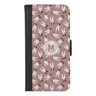 Tiny terriers Jack Russell lovers monogrammed iPhone 8/7 Wallet Case