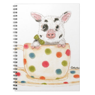 """Tiny""  The Teacup Pig Spiral Notebook"