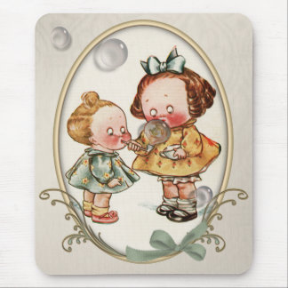 Tiny Toddlers Vintage Illustration Mousepad